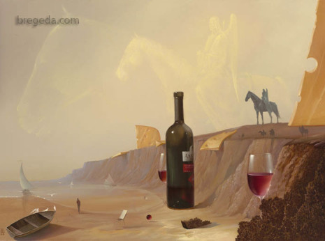 This piece is a powerful depiction of sources of inspiration. There are multiple influences throughout the painting that channel a level of creativity.   Notice the angel in the sky perhaps symbolizing a spiritual influence. The other hints prove to be a tad more decadent.   Notice the wine and cheese tempting the viewer with its satisfying realness. Upon closer look, we notice a fish outlined along the shore, further exemplifying the refined taste of this inspirational source.  It becomes apparent to the viewer that this is where comfort is found and imagination can be free to roam.